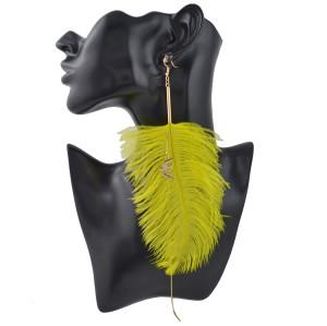 E-4410 1 pc Long Feathers Drop Earrings Tassel Chain Small Gold Pigeon Pendant Hook Earring Ear Jewelry