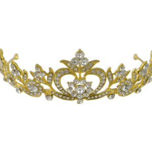 F-0473 Luxury Rhinestone Gold Queen Crown Bridal Headpiece Wedding Hair Accessories