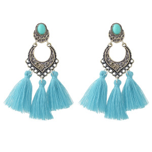 E-4411 Bohemian Alloy Gold Plated Tassel Long Drop Dangle Earrings For Women's Wedding Gift