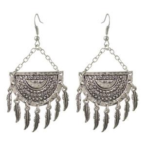 E-4407 Bohemian style silver plated Alloy Leaves shaped pendant dangle earrings