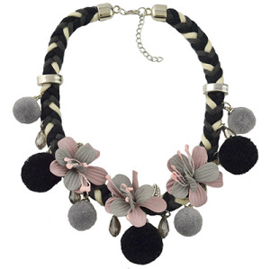 N-6963 Fashion Thread Weave Chain Leaf Flower Pom Pom Choker Bib Necklace