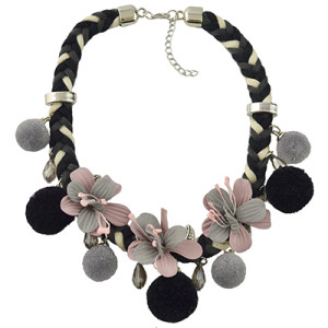 N-6963 Fashion Thread Weave Chain Leaf Flower Pom Pom Choker Bib Necklace