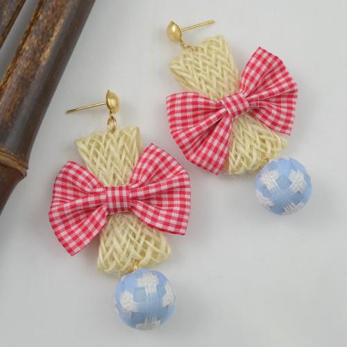 E-4415 New Fashion Gold Plated Alloy cloth bowknot Plush ball pendant Earrings