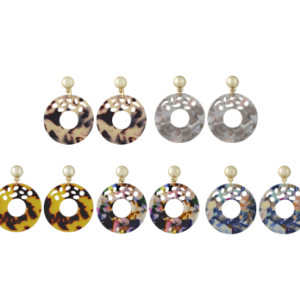 E-4419 5 Colors Fashion Round Acrylic Drop Earrings for Women Bohemian Wedding Party Jewelry