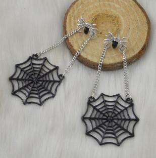 E-4416 Bohemian style Black Alloy Spider web shaped pendant dangle earrings