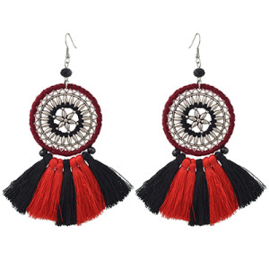 E-4417 Bohemian Style Vintage Silver Alloy Big Flower Thread Tassel Dangle Earrings