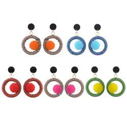 E-4422 Statement Drop Earrings Pom Pom Ball Ethnic Thread Wrapped Earring