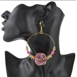 E-4420 New Fashion Bohemian personality Styles Punk Big Round Pom Pom Earrings Accessories