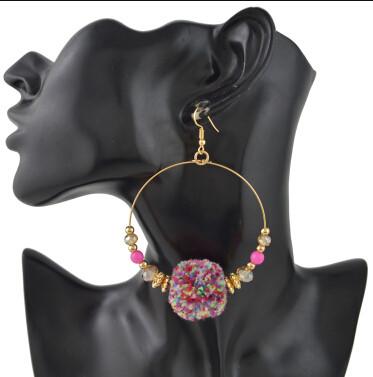 E-4420 New Fashion Bohemian personality Styles Punk Big Round Pom Pom Earrings Accessories