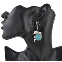 E-4421 Cute Dolphin Shape Turquoise Drop Earrings for Women Boho Wedding Party Birthday Gift