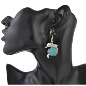 E-4421 Cute Dolphin Shape Turquoise Drop Earrings for Women Boho Wedding Party Birthday Gift