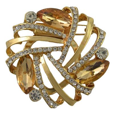 P-0388 Fashion Gold Plated Alloy Crystal Rhinestone Flower Scarf Buckle Brooch Accessory