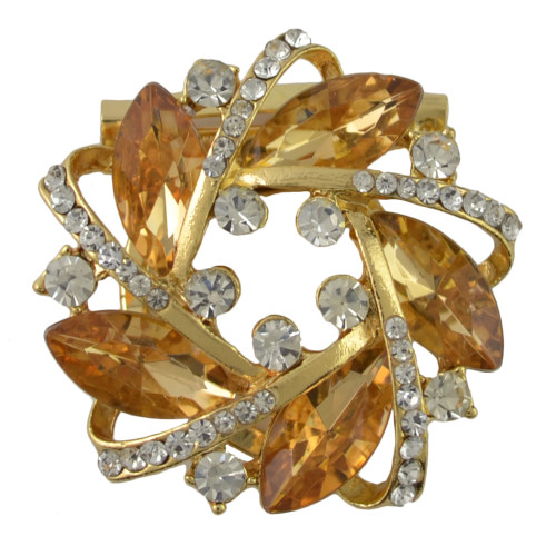 P-0389 Generous Shining Gold Plated Alloy Full Crystal Rhinestones Flower Buckle Brooch Scarf Accessories