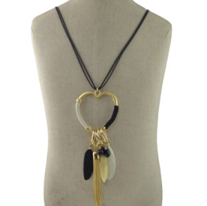 N-6972 New Gold Plated Tassel Charm turquoise thread Feather pendant Necklace Jewelry