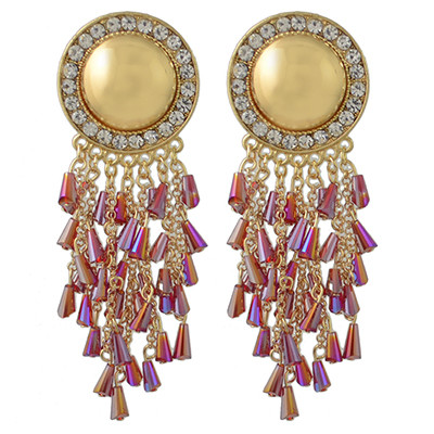 E-4423 5 Colors Gold Plated Round Rhinestone Acrylic Beaded Tassel Drop Earrings Jewelry Accessories