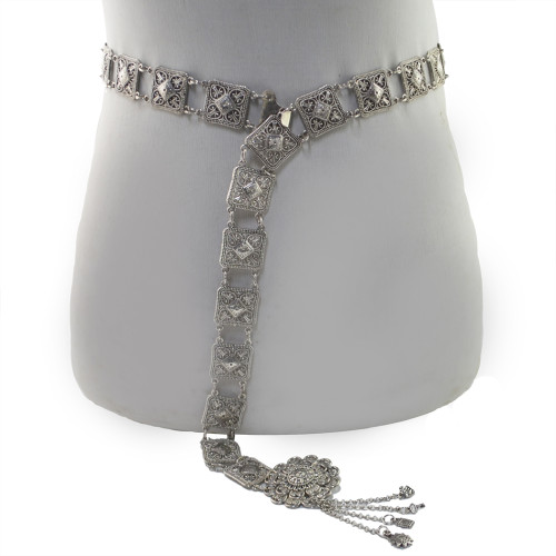 N-6907 Vintage Style Turkish Gypsy Silver Plated Alloy Belly Body Chain Waist for Women Beach Sunshine Party Jewelry