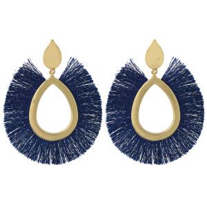 E-4425  Boho Fringe Earrings Gold Plated Big Waterdrop Stud Tassel Earring Ear Jewelry
