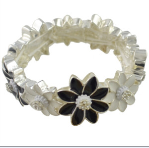 B-0870 New Fashion Silver Plated Alloy white/ black Flower link bracelet Jewelry