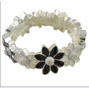 B-0870 New Fashion Silver Plated Alloy white/ black Flower link bracelet Jewelry