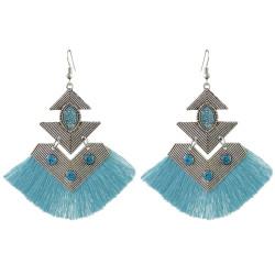 E-4428 4 Colors Bohemian Rhinestone Gold Plated Thread Tassel Drop Dangle Earrings for Women Wedding Party Accessories