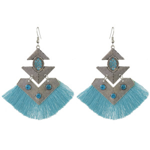 E-4428 4 Colors Bohemian Rhinestone Gold Plated Thread Tassel Drop Dangle Earrings for Women Wedding Party Accessories