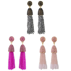 E-4426 3 Colors Bohemian Gold Plated Rhinestone Beaded Tassel Drop Dangle Earrings Women Wedding Party Accessories