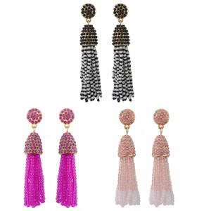 E-4426 3 Colors Bohemian Gold Plated Rhinestone Beaded Tassel Drop Dangle Earrings Women Wedding Party Accessories