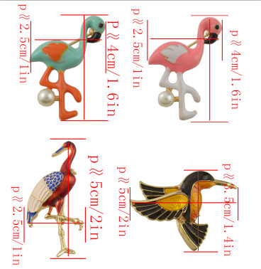 P-0392 4 Styles Bird Enamel Brooches Women Metal Animal Brooch Pins Dress Jacket Pin Fashion Accessories