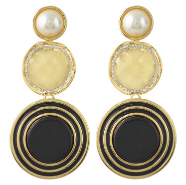 E-4434 6 Colors Gold Plated Round Pearl Drop Earrings Jewelry Accessories For Women