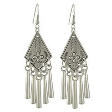 E-4431 Vintage Style Silver Alloy Carved Flower Geometric Tassel Fish Hoop Earrings