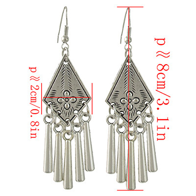 E-4431 Vintage Style Silver Alloy Carved Flower Geometric Tassel Fish Hoop Earrings