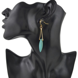 E-3370 European Style Gold Metal Turquoise Drop Dangle Earring Party Jewelry