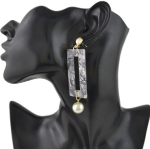 E-4437 3 Colors  Hot Women Acrylic square pearl Long Drop Earrings Jewelry