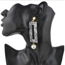 E-4437 3 Colors  Hot Women Acrylic square pearl Long Drop Earrings Jewelry