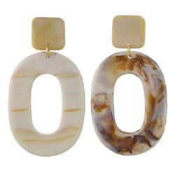E-4436 2 Colors Women fashion Amber Pattern Circular Acrylic Long Drop Earrings Jewelry