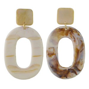 E-4436 2 Colors Women fashion Amber Pattern Circular Acrylic Long Drop Earrings Jewelry