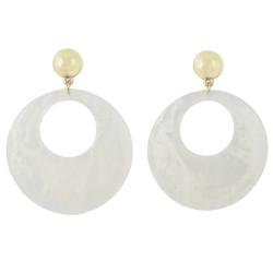 E-4438 3 Colors Women fashion Amber Pattern Circular Acrylic Long Drop Dangle Earrings Jewelry
