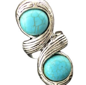 R-1203 Vintage Style 8 Letter Turquoise Rings Antique Silver Plated Women Flower Turquoise Rings Opening Rings