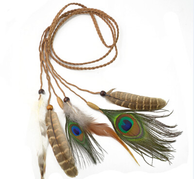 F-0291  Retro Style Rope Chain Natural Stone Feather Tassel Hairband Accessory
