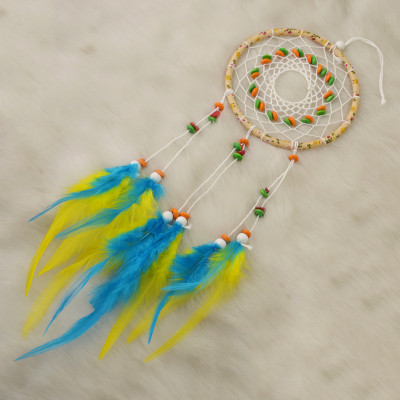N-6969 Colorful New Fashion Dreamcatcher Gift Handmade Dream Catcher Net With Resin Bead Feathers Pendant  Wall Hanging Decoration Ornament