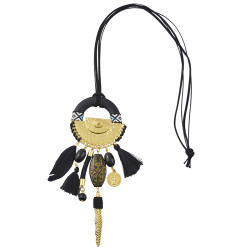 N-6971 3 Colors Fashion Necklace Pendant Dangle Pom pom Bead Tassel Leather for Women Engagement Jewelry