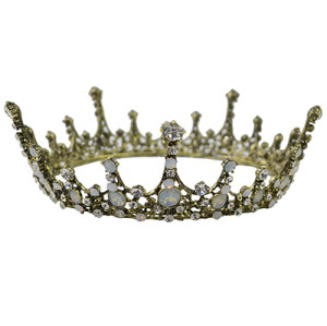F-0475 Wedding Bridal Vintage Style Handmade Crystal King Queen Crown Headband Accessories