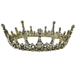 F-0475 Wedding Bridal Vintage Style Handmade Crystal King Queen Crown Headband Accessories