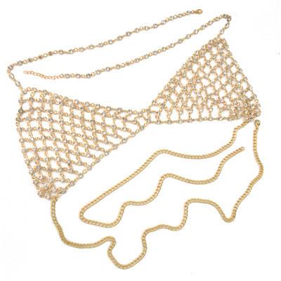 N-6807 * Sexy Crystal Rhinestones Body  Jewelry Fashion Bikini Chain Necklace Hollow Out Underwear Bra Design Summer Beach