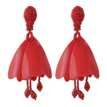 E-4439 3 Colors  Women Trendy An-Shaped Fallen Leaves Bead Thread Tassel Earrings