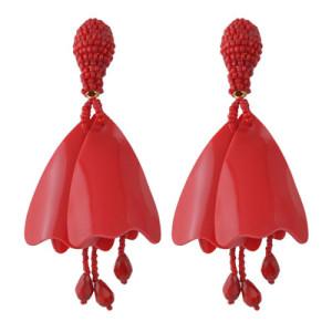 E-4439 3 Colors  Women Trendy An-Shaped Fallen Leaves Bead Thread Tassel Earrings