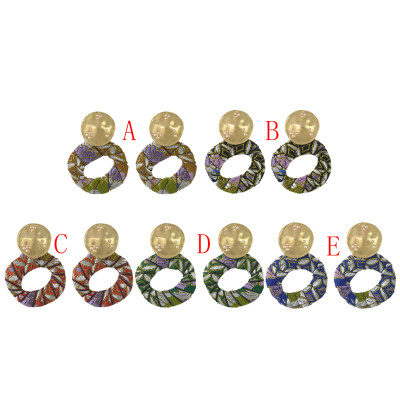 E-4443 5 Colors Elegant Lady Ethnic Style Gold Plated Metal Stud Annulus Shape Colorful Fabric Pendant  Drop Dangle Earrings for Women Party Jewelry