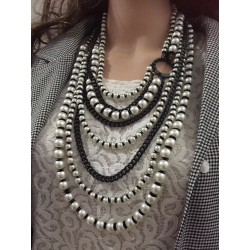 N-6989 New Fashion Gun Black Alloy Pearl Many Chain Necklace Jewelry