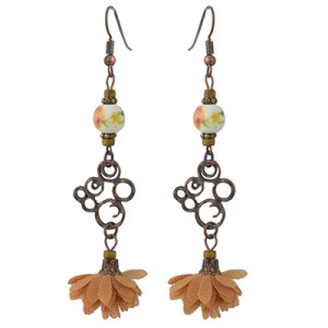 E-4442 Vintage Style Copper Alloy Wood Ceramics Beads Flower Dangle Earrings