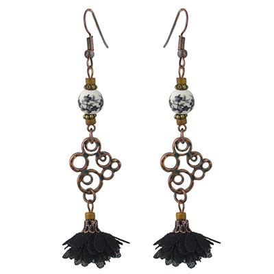 E-4442 Vintage Style Copper Alloy Wood Ceramics Beads Flower Dangle Earrings